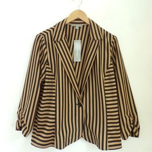 NWT NY COLLECTION  Blazer Tan Black Stripes XL